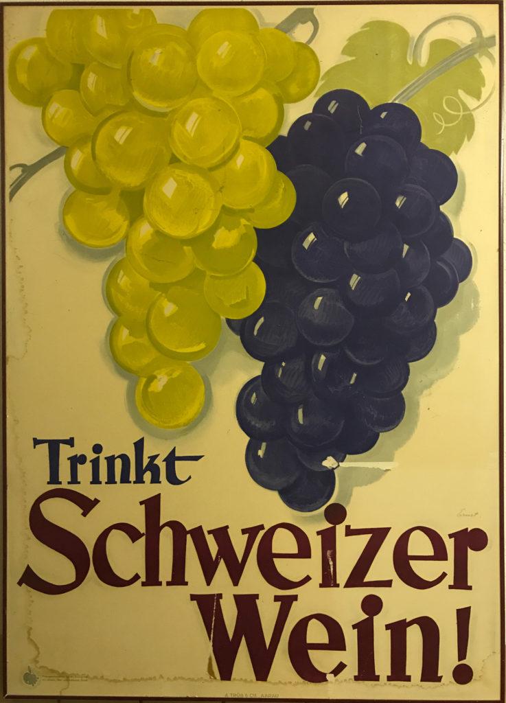 trnkt schweizer wein - altes plakat von stämpfli wy